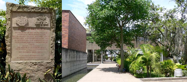 The AMB headquarters buildings also step down the sloping site, joined by aerial walkways that shade the paths below.