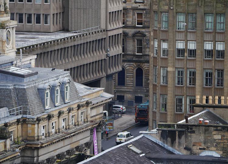 Looking down on inner Glasgow.