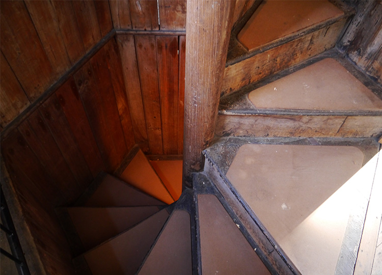 Looking down into the stairwell.