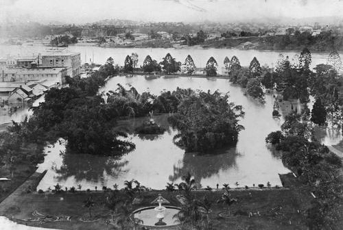 The Gardens in flood, as viewed from Parliament House, 1890.