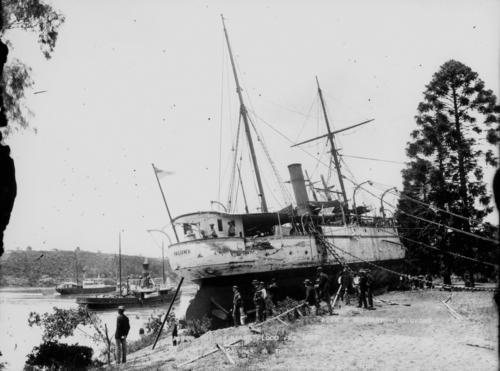 The ship Paluma aground after floods, 1893.