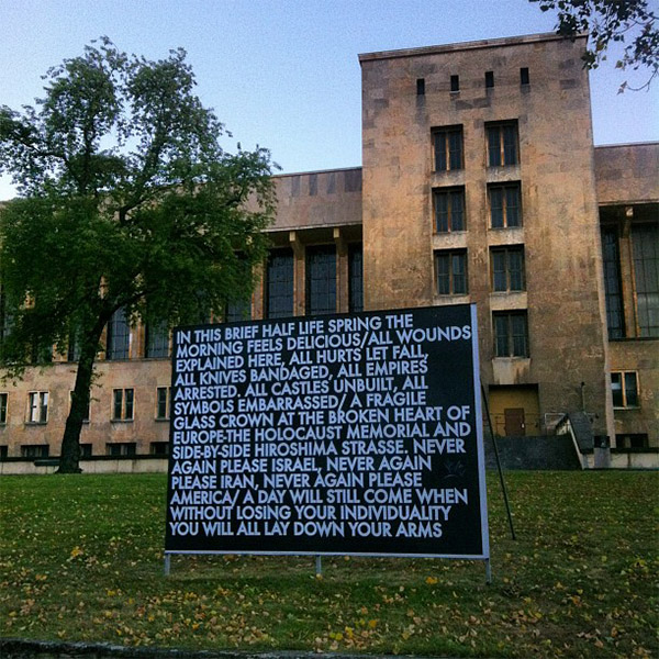 Image: Robert Montgomery installation, by Alper Cugun via Flickr under Creative Commons licence.