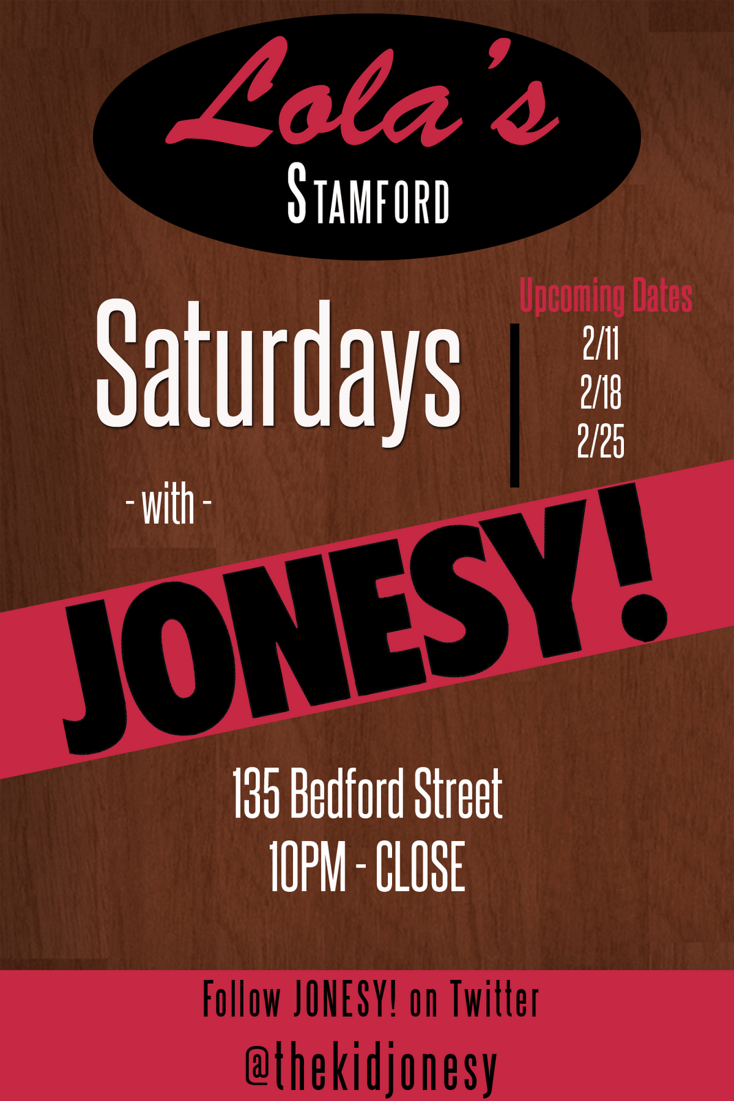All throughout the month of Feb. I will be spinning beats at Lola's Stamford - Saturday's 10pm - Close. Come Join Me!