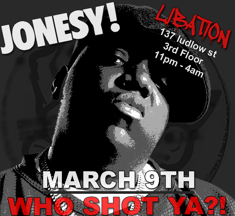 "Friday March 9th we bring the Party to Libation to celebrate the Life of the late, great Notorious B.I.G. Party is called ""Who Shot Ya?!"" Doors Open at 10:30pm."