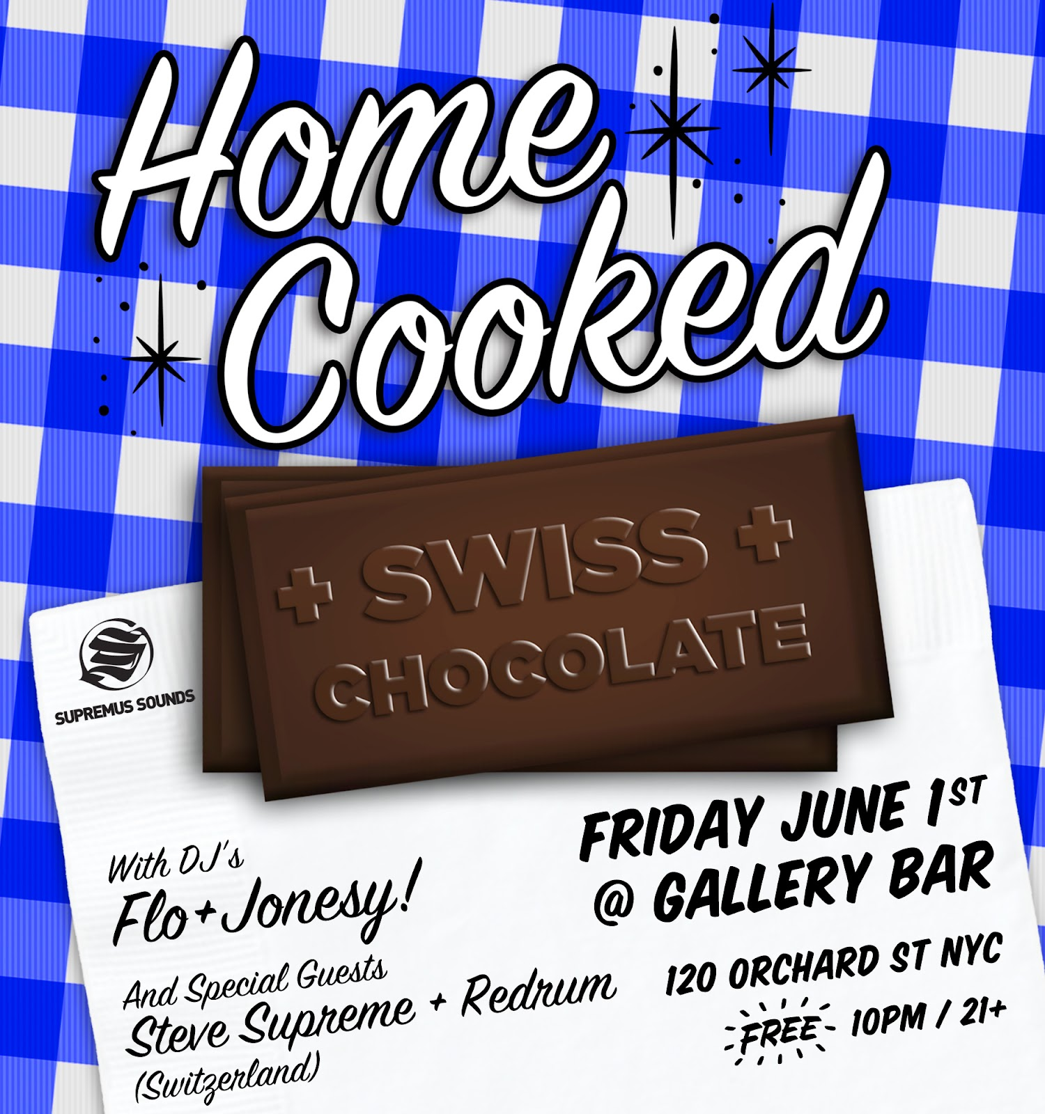 """HOME COOKED ended but we forgot to serve desert. Luckily two of Switzerland's top DJ's are in NYC to join #HC for a sweet party.""    Music Style : Hot-House & Deep-Dance    ************* Friday June 1st    DJs: FLO & Jonesy! 