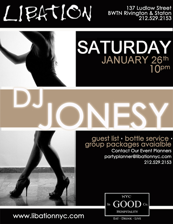 SATURDAY 1-26 WE BRING THE PARTY TO  LIBATION NYC  IN THE LOWER EAST SIDE. DOORS OPEN AT 10.