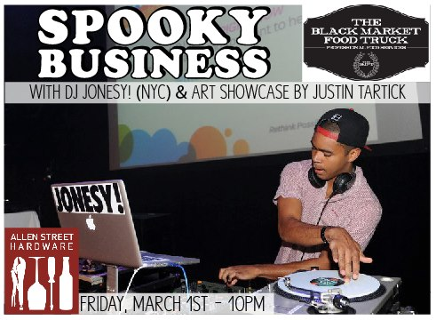Bringing it to  HARDWARE  March 1st, coming in HOTT!     On March 1st, we're about to go IN for Angela's 21st birthday & the return of DJ JONESY (NYC) at Hardware in historic Allentown!    DJ Jonesy ( http://thekidjonesy.com/ ) will be spinning in the front bar ALL NIGHT while we'll be in the back room  DON'T MISS THIS!  $3 cover! Spooky shots at the back bar! Harlem shake contest going down at 1AM in the back room!   Let's celebrate, party, and most of all GET SPOOKY!   Follow the fam! Spooky Business -  @SpookyBusiness  JONESY -  @thekidjonesy  The Black Market Food Truck -  @theBMFT