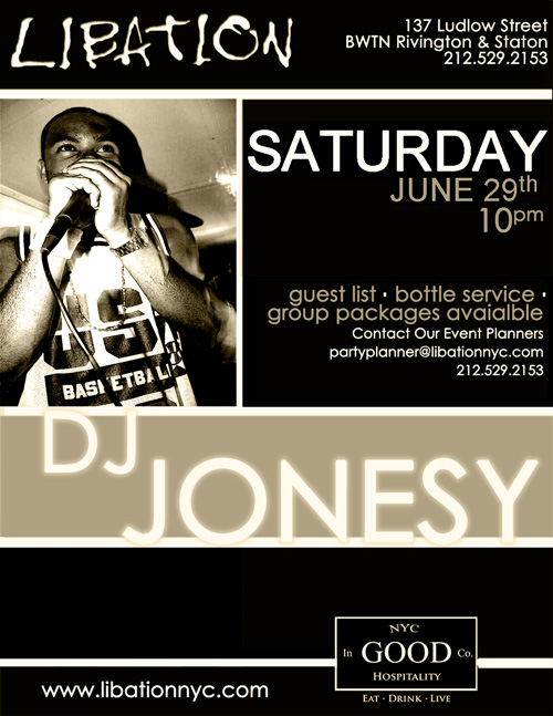 SATURDAY 6-29 WE BRING THE PARTY TO  LIBATION NYC  IN THE LOWER EAST SIDE. DOORS OPEN AT 10.