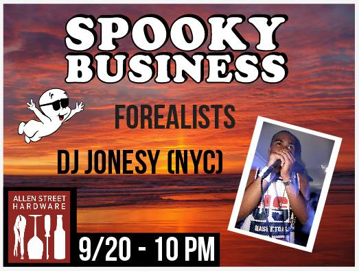 Facebook Invite        This month's installment at Allen Street Hardware Cafe is looking pretty fresh for fall...  ↗Starting at 10pm, The FOREALISTS will be providing your funky vibes to start off the night right!  ↗JONESY will be flying back to Buffalo from NYC and spinning ALL NIGHT in the front bar!  ↗Around midnight, come to the back & get SPOOKY with us!  ↗TJ will be kicking it at the back bar, come show him some love!  Let us know your movie suggestions and we'll play it!  Don't sleep on this night and STAY SPOOKY!