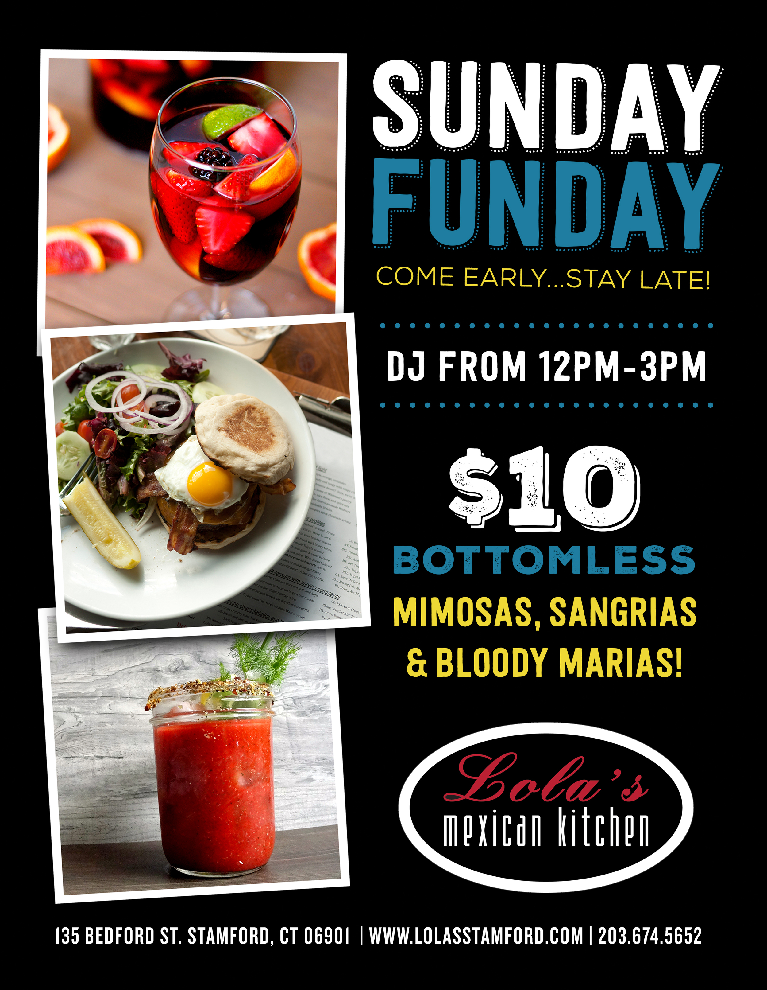 STARTING SUPER BOWL SUNDAY, FEB. 2ND, JOIN US AT LOLA'S MEXICAN KITCHEN @ 12PM FOR SUNDAY FUNDAY! $10 BOTTOMLESS MIMOSAS, SANGRIAS + BLOODY MARIAS. MUSIC BY YOURS TRULY 12PM-3PM. MEET US THERE!