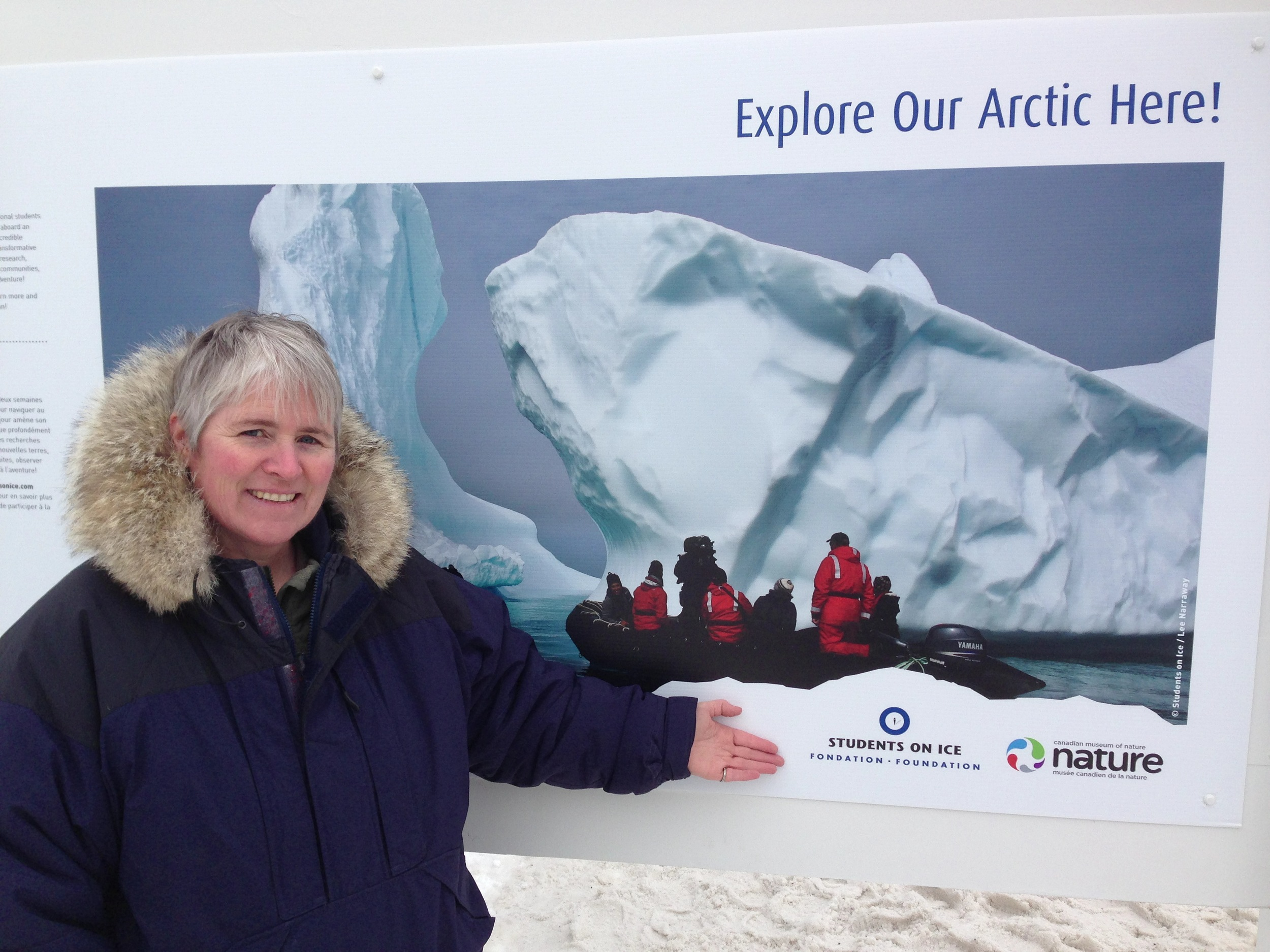 Here I am beside the Students On Ice/Canadian Museum of Nature arctic expedition display.