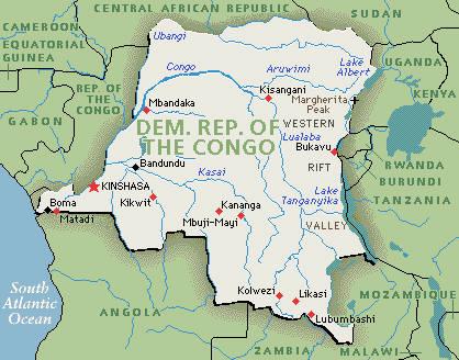 Map of the Democratic Republic Congo.