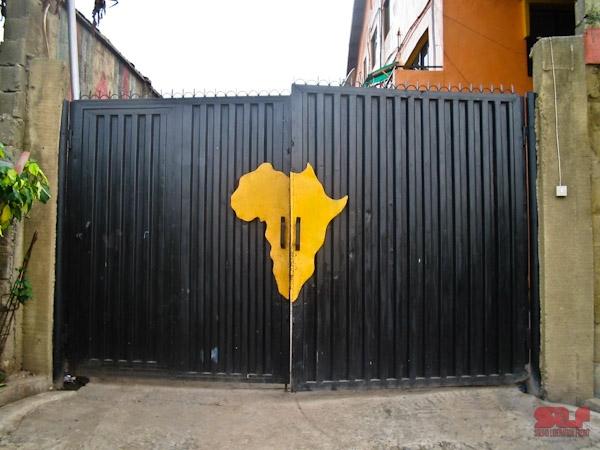 Entrance Gate to the Afrika Shrine, Lagos 2006 (Photo by Ezra Gale)