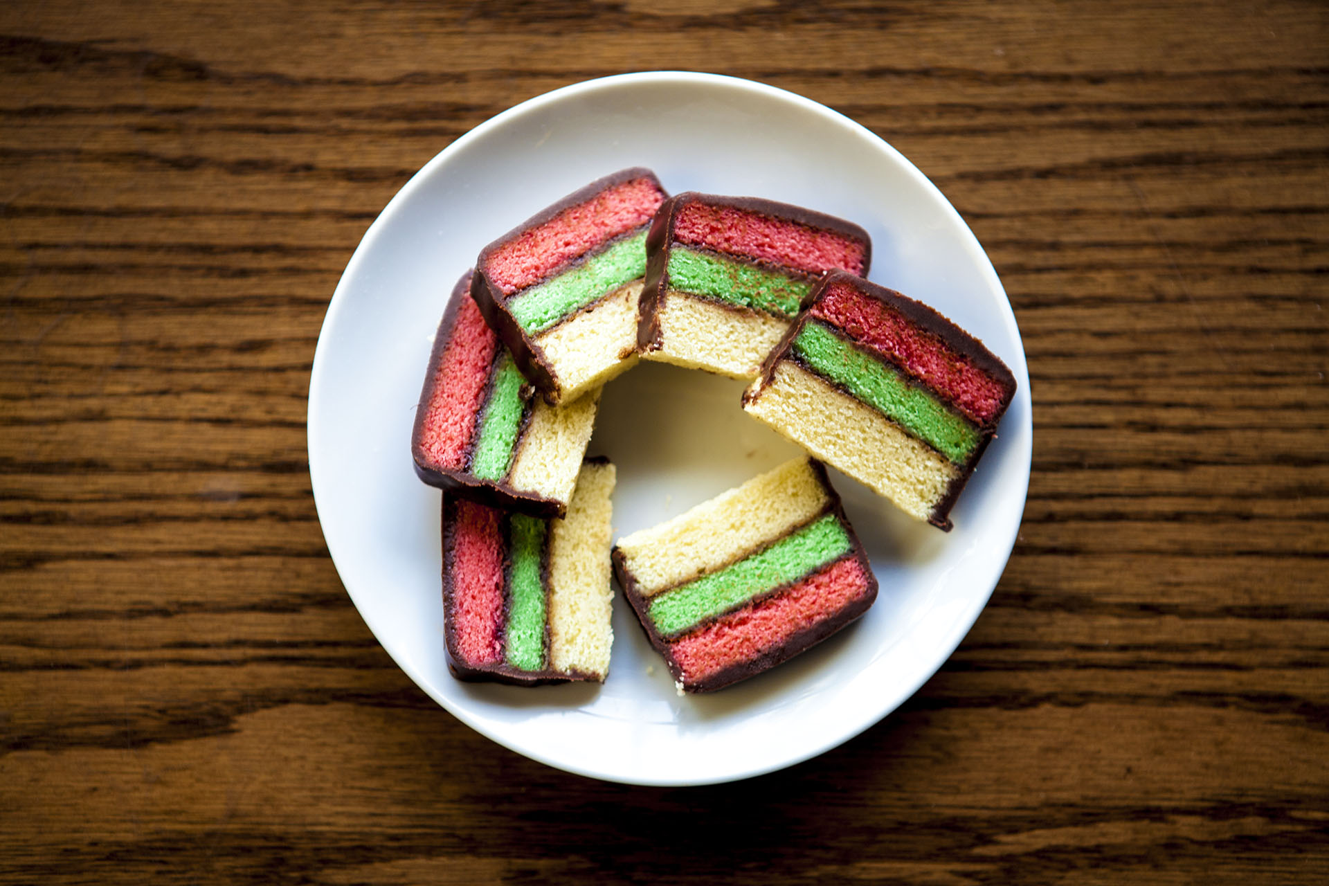 Delicious rainbow cookies! Pre-cut for sharing!