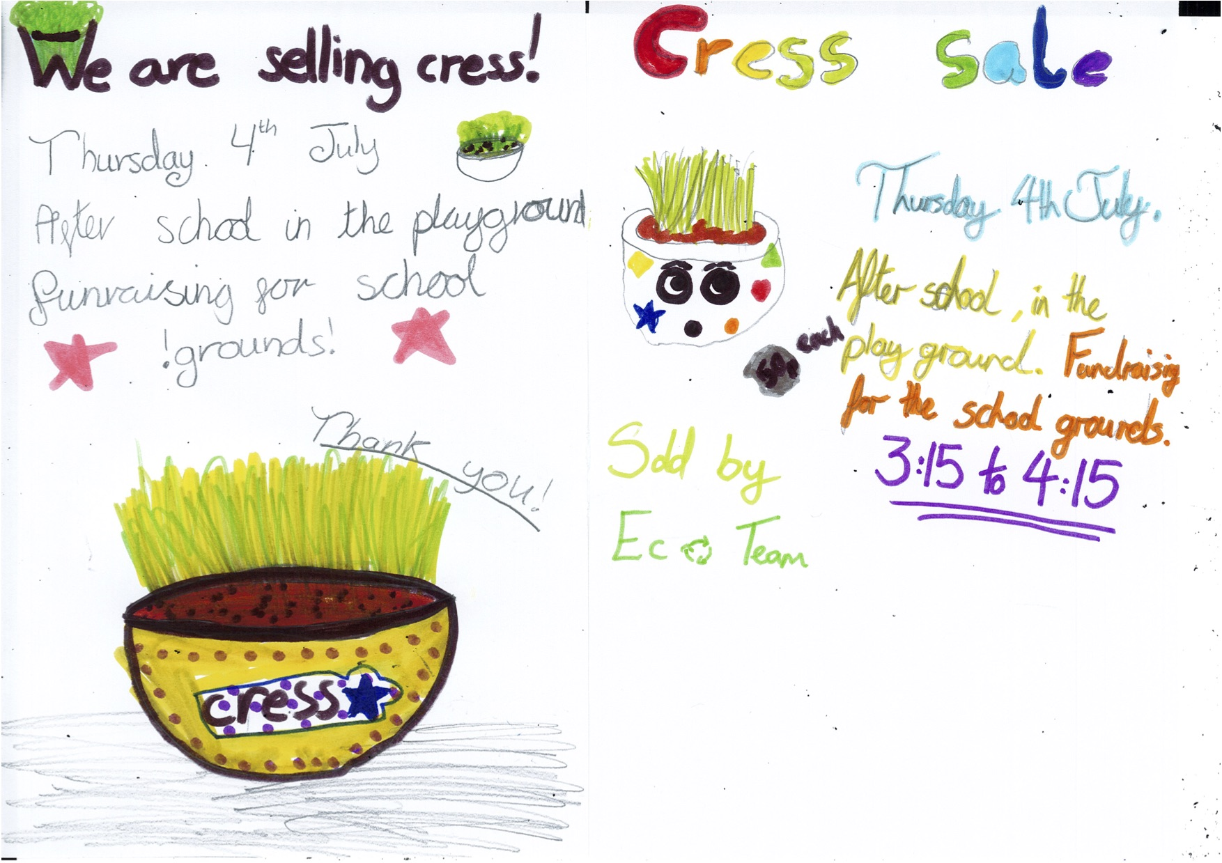 To help us raise funds towards the school grounds the children came up with the idea of reusing our school yogurt pots and using them as planters to grow cress. Each class has been involved in decorating and planting their own designs.
