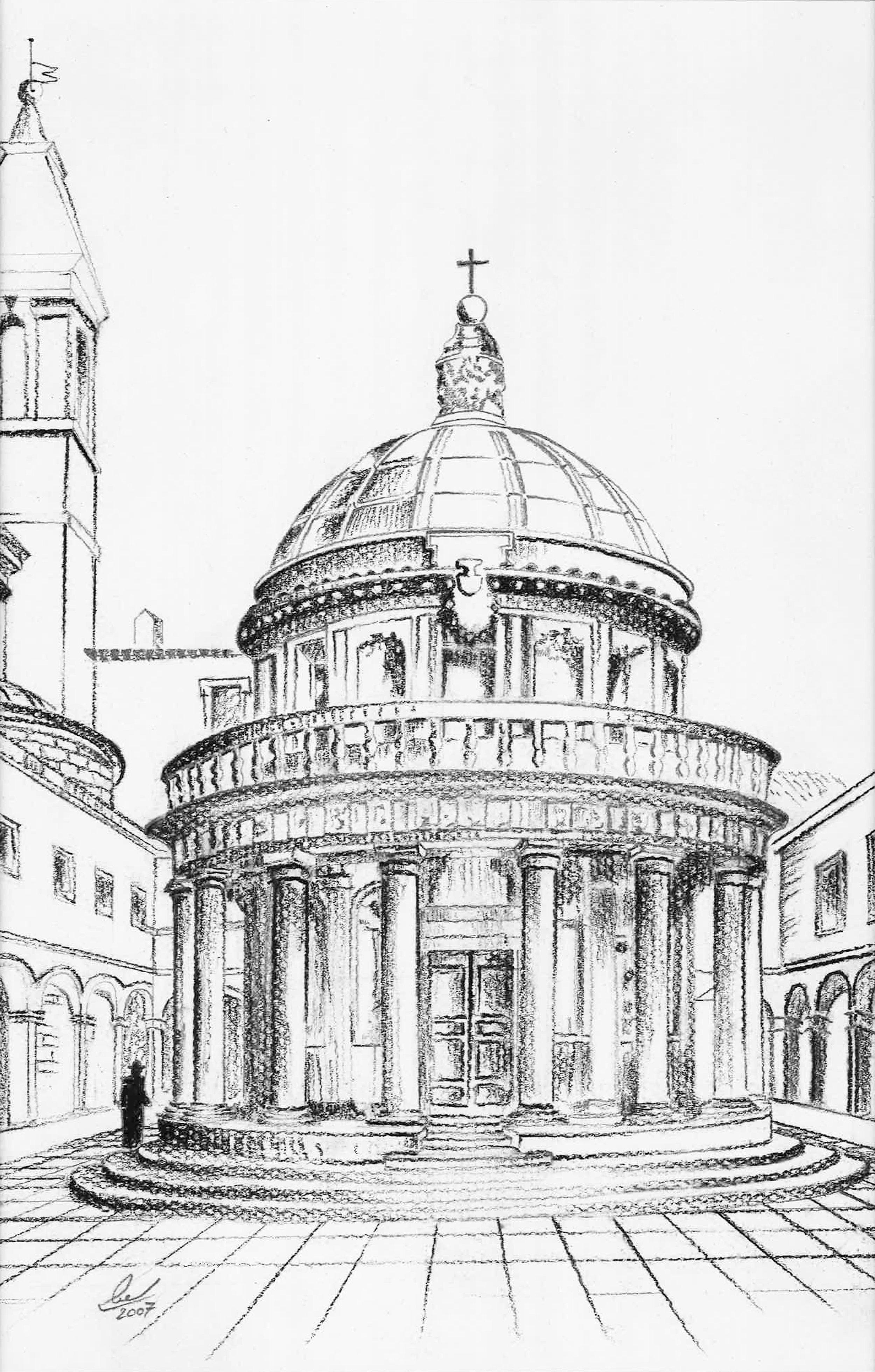 The Tempietto - Pencil Sketch - 2007 UAE