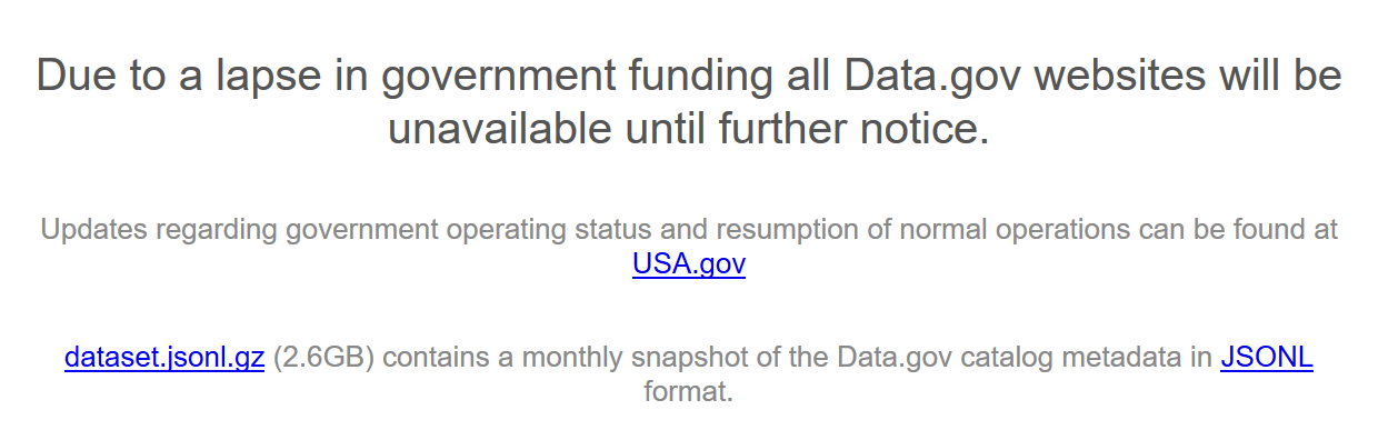 Data.gov Shutdown Notice
