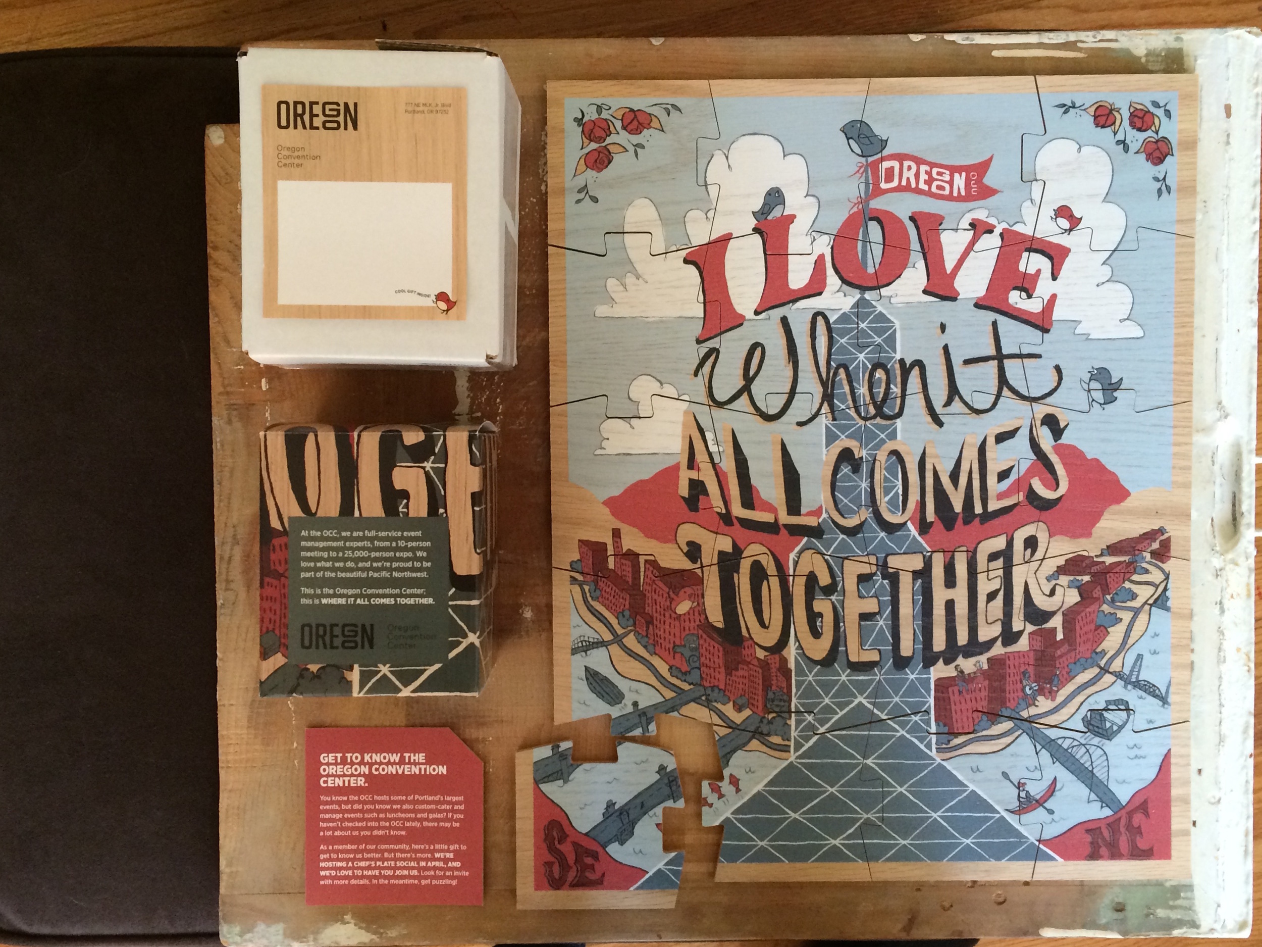 shipping label, puzzle box with messaging, invite insert, and full puzzle; where it all comes together.