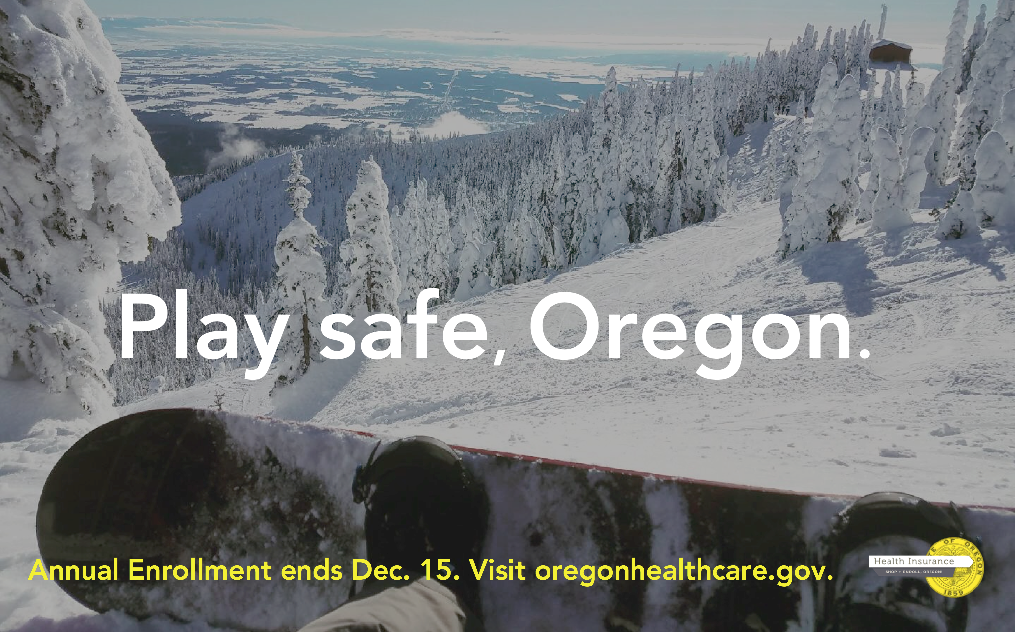 enroll oregon // grady britton //  winter 17  play safe, oregon.   this is a mockup of an ooh campaign for Oregon's annual enrollment effort. the concept celebrates the natural beauty of the state and the active outdoor community that makes up most of the target audience with a cheeky nod to the sometimes not-so-safe pastimes they get up to.