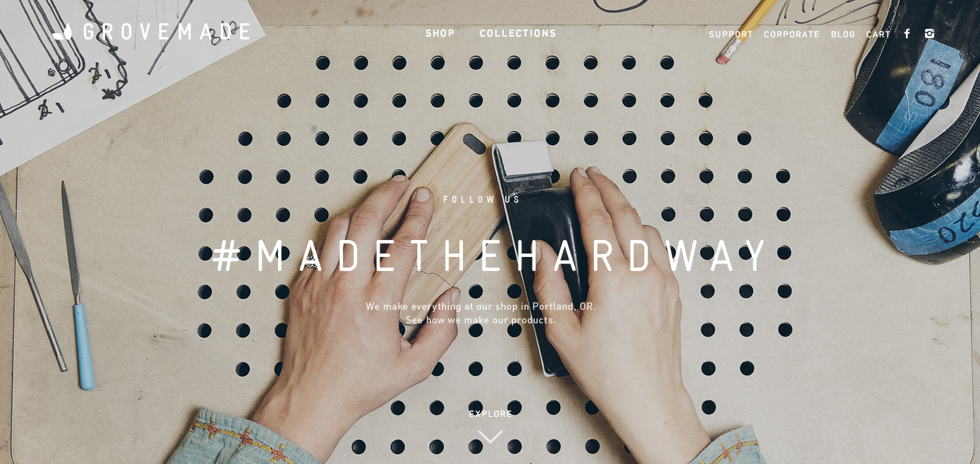"""grovemade // studio paradise //  spring 14  made the hard way  during a rebrand for our friends at Grovemade, we decided they needed a brand-positive campaign line that highlighted their meticulous by-hand process. we also wanted to give a nod to the team's snidely cathartic internal maxim, """"making things is hard."""" this line rolled out just a few months before budweiser launched its """" brewed the hard way """" campaign in 2015, so i'm taking full inspirational credit for that. see more about this campaign on my  Grovemade project page ."""