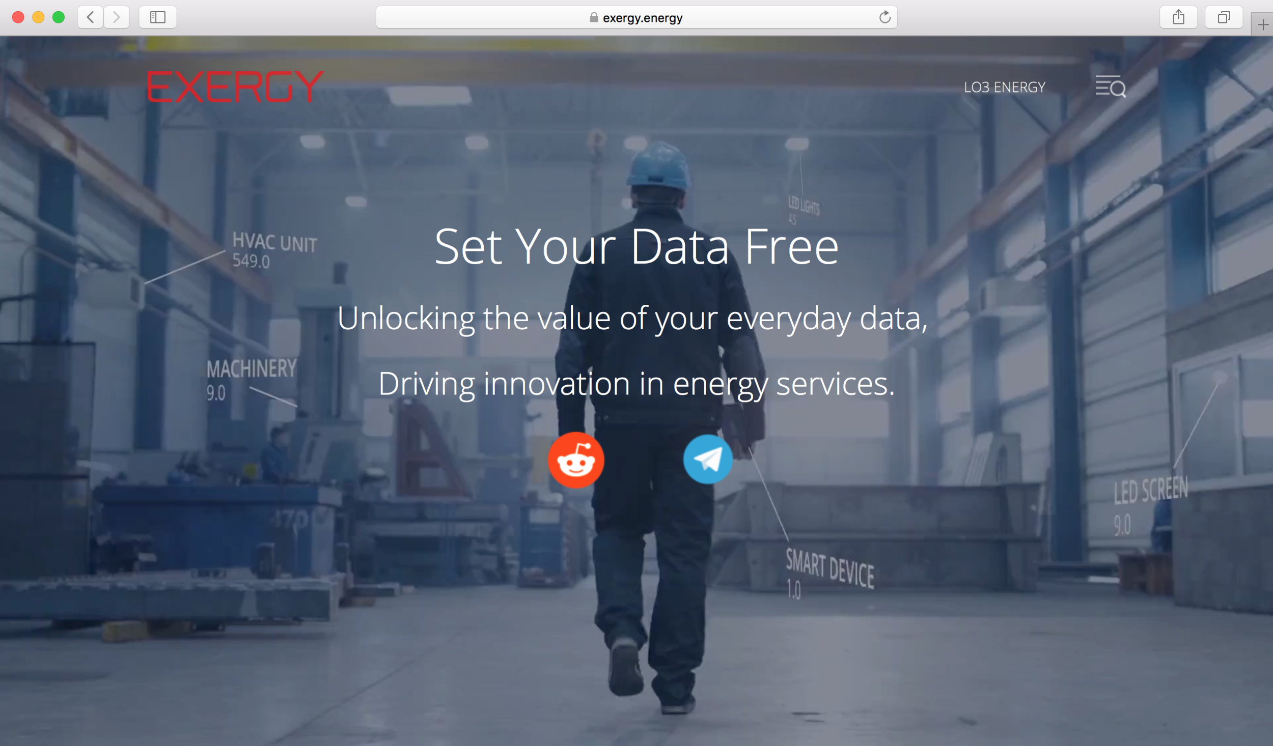 Exergy  landing page with campaign line
