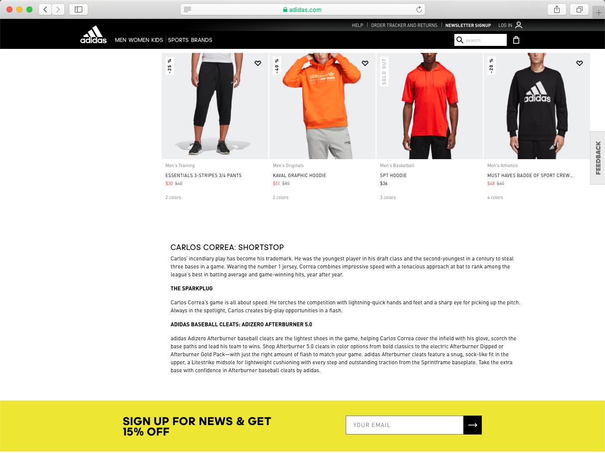 similar to the nhl hockey treatment, we did a  campaign landing page  and product landing pages featuring each of the adidas baseball players. i concepted the terminology to classify each player by style and created seo footers for each player's plp—like this one for  carlos correa .