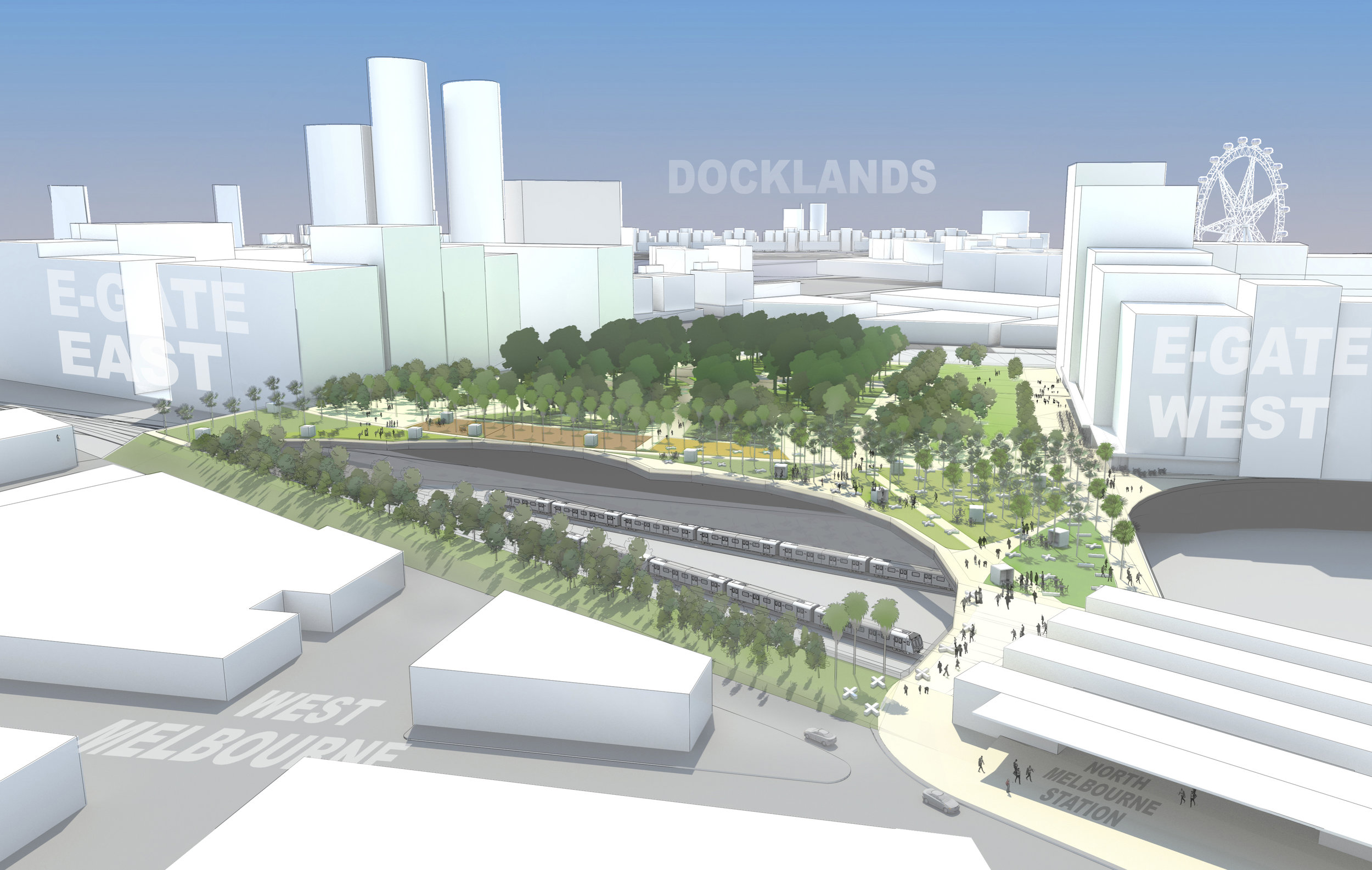 Western Connection is proposing that parkland can be central to the E-Gate development. North Melbourne train station is in the lower right corner of the picture.