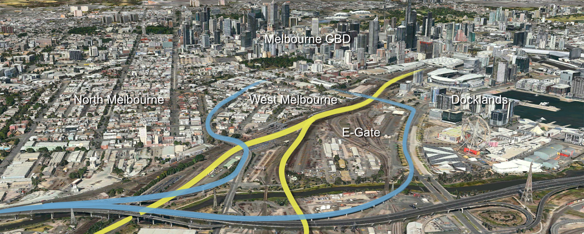 The existing access ways about the E-Gate site. The Blue lines represent road traffic coming in from the north off Citylink, the Yellow lines are  regional and interstate trains that pass the site everyday as they arrive in the Southern Cross Train Station.