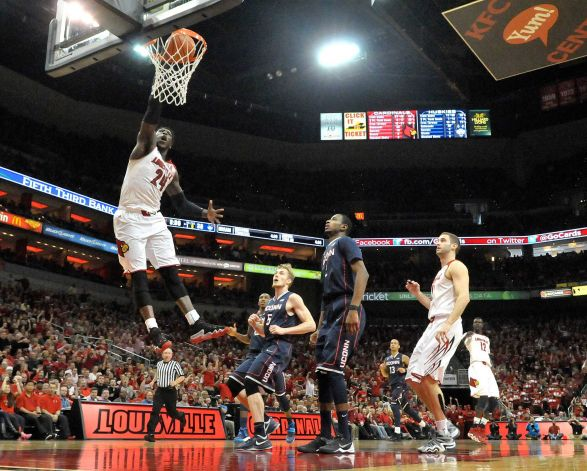Louisville's forward, Montrezl Harrell (24) is a beast and nothing short of it. (AP Photo/Jessica Hill)