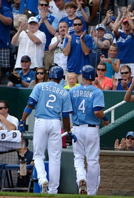 Alcides Escobar and Alex Gordon have been apart of the Royals since 2011 and has helped bring baseball back in KC. Since the Royals have a home win percentage of .563, currently this season with 31 wins at home. (John Rieger-USA TODAY Sports)