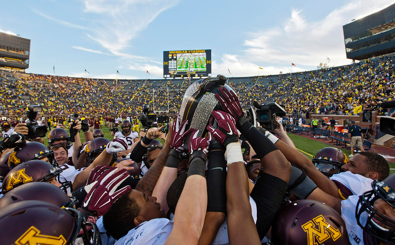 Minnesota defeated the Wolverines in the Big House to take home the Big Brown Jug for the third time since 1986. (AP Photo)
