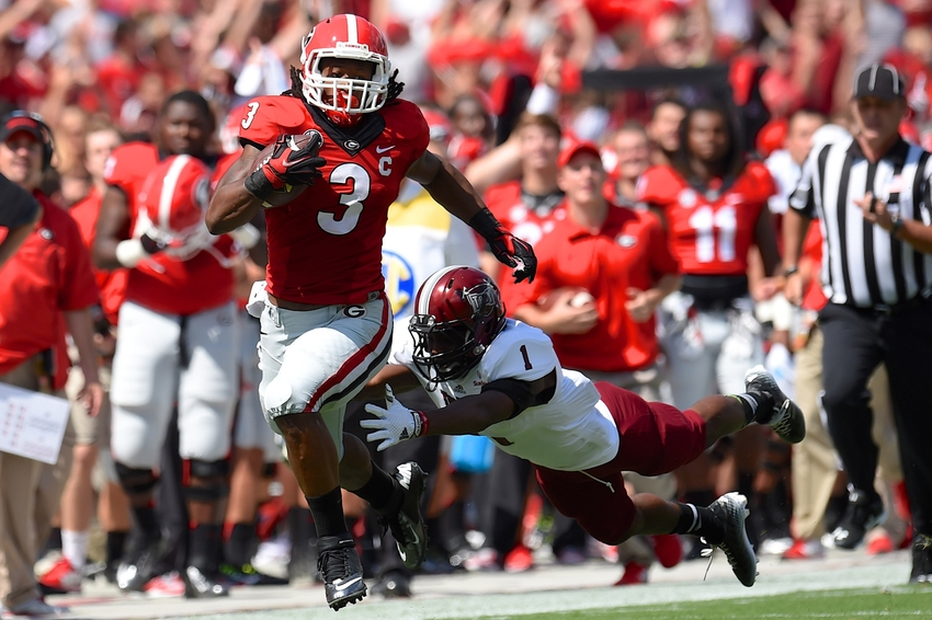 """Todd Gurley aka """"Carolina Bulldog"""" has the abilities to carry Georgia to the promise land. The coaching staff must realize that and feed him the ball. If you wanna win let Gurley spin. (AP Photo)"""