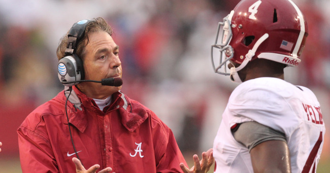 This isn't Saban's first time outside the top 5 but I think he has his hands full with this group of kids he has. In order to go through the rest of the season with only loss, Saban must get them to cut back on the mistakes which almost cost them against Arkansas. (AP Photo)