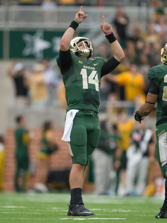 Bryce Petty didn't have his best game numbers wise, but this comeback victory against TCU will be one of his most memorable. The Bears were down 37-58 with 11:38 left in the 4th quarter. They went on to score the final 24 points of the game, Bryce finishing with 500 yards and 6 TDs. (USA Today Photo)