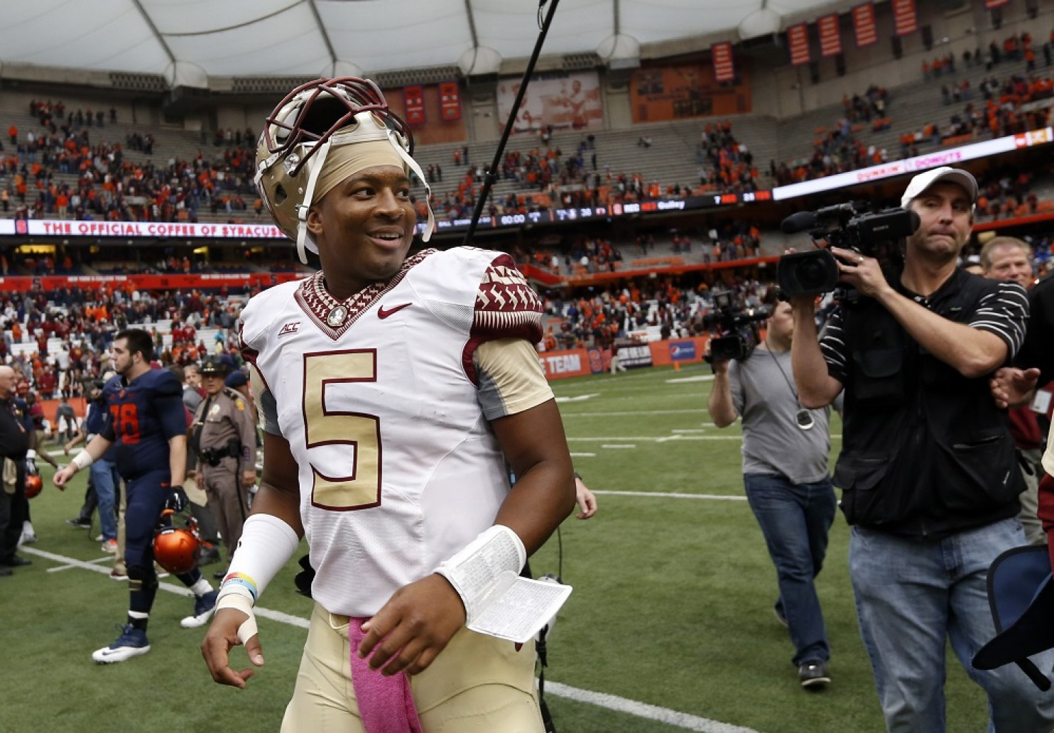 No matter what the critics say about Jameis, one thing they can't say is he can't pay quarterback. I don't understand why the media hates him, Yes he makes bad decisions but we all made bad decisions at the age of 19-20. And it is completely not fair to discredit his on-the-field success because of his off-the-field issues. (AP Photo)