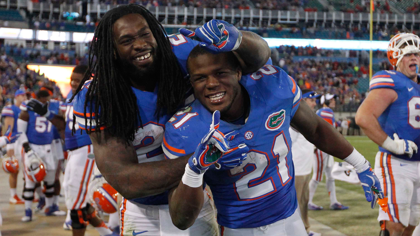 For the first time we're going to have two players as Ballers of the Week. Kelvin Taylor (21) and Matt Jones (24) both tore the Bulldogs apart. Taylor, son of former NFL running back, Fred Taylor, is only in his sophomore season and I can definitely see some of his daddy's skills in him. Jones is in his junior season, trying to eclipse 1,000 yards for the first time in his career. Both had a career day against the Bulldogs, averaging close to 8 yards a pop. (AP Photo)