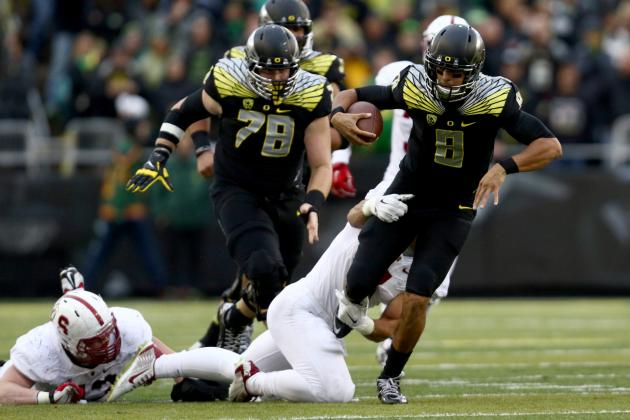 Marcus Mariota and the Oregon Ducks ended a 2-game losing streak against Stanford, scoring the most points against the Cardinals since 2011. Mariota is still a Heisman hopeful with 33 total TDs on the season but I'm sure his main concern for the rest of the season will be to keep the Ducks is playoff contention, which will help his Heisman consideration. (AP Photo)