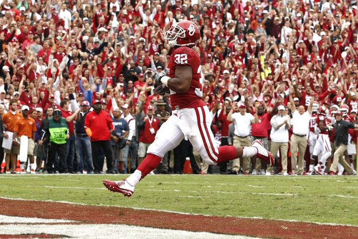 Semaje Perine sealed himself a spot in the history books with his record breaking day on the ground, just seven days after Melvin Gordon broke the same record. You don't see record change like this too often, especially the single game rushing record. Perine is a freshman, which makes his performance that much impressive, so we will get to see this young Sooner run the ball for another 2 more years. Watch out BIG 12. (AP Photo)