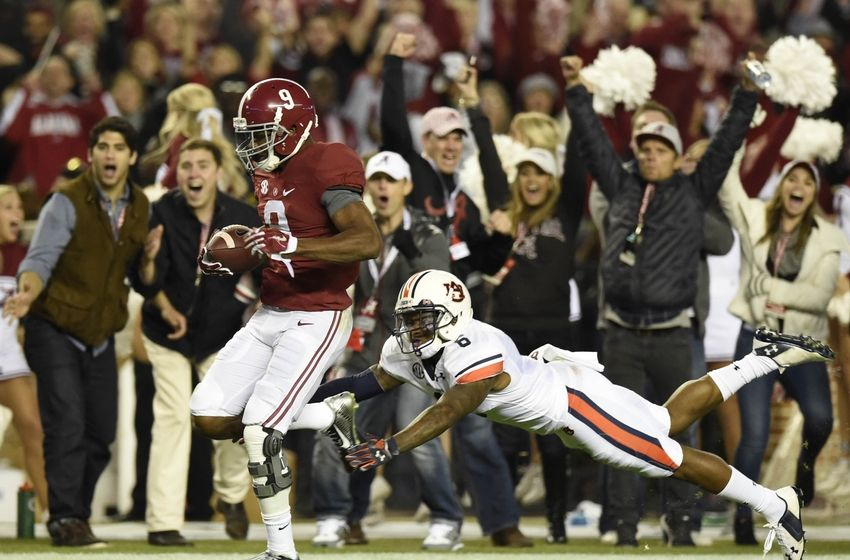 """Amari has the perfect combination of strength, speed, and precision route running. Derrick Mason tweeted """"In today's NFL, Cooper can be the #1 pick"""" and I wouldn't argue that. I already thought he was the best wideout in the country, but after his performance against Auburn, you have to consider him as one of the best players in the country. (AP Photo)"""