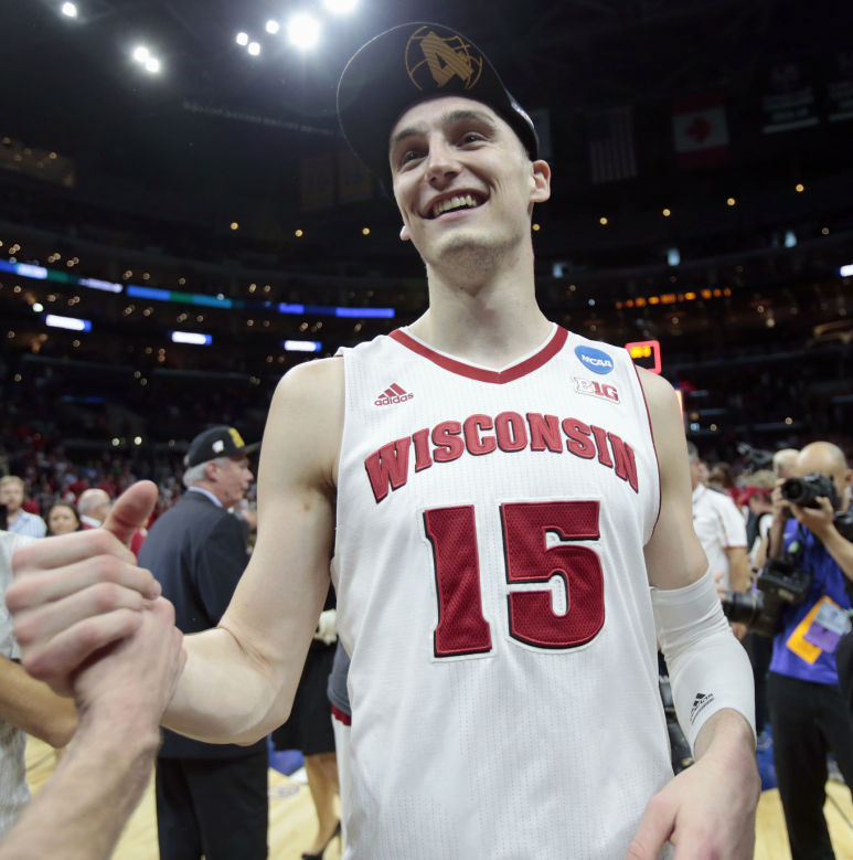 Sam Dekker went bonkers against Arizona in the Elite 8, scoring 27 points, 20 of them coming in the second half. During the tournament he is averaging 21 points a game while shooting 60% from the field. He is a matchup problem for anyone, and I'm not really sure how Kentucky is going to stop him. (AP Photo)
