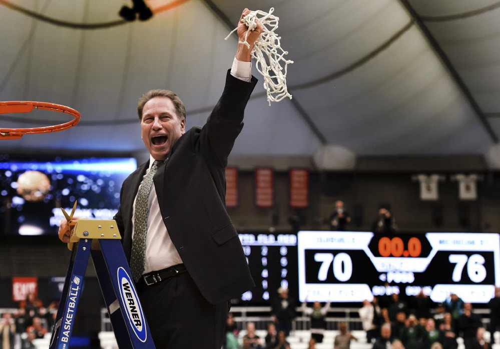 Tom Izzo always makes his mark in the month of March. In 20 seasons at Michigan State, Izzo has reached the Sweet 16 thirteen times out of 18 tournament appearances. (AP/Post-Standard, Kevin Rivoli)