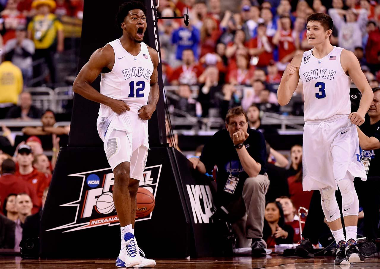 Justice Winslow(21) and Grayson Allen(3) both left their mark in this game with some tough defense and a few good buckets. Allen scored 10 of his 16 points in the 2nd half and was the motor that kept Duke in it with his hustle plays. (Greg Nelson/Sports Illustrated)