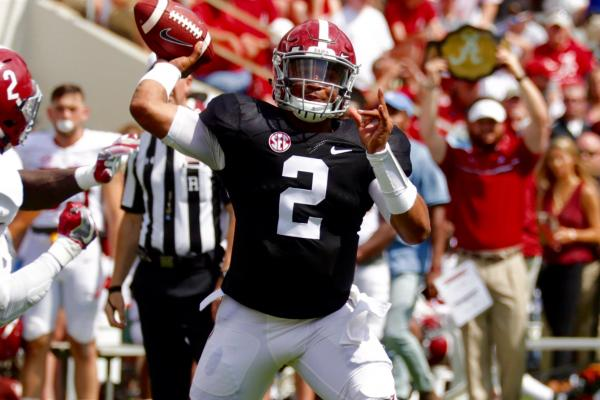 Jalen Hurt was instrumental in the Tide's run to the National Championship but his inexperience hurt Bama's chances against Clemson down the stretch. How will Hurt grow as a sophomore quarterback now that more eyes are on him. (Getty Images)
