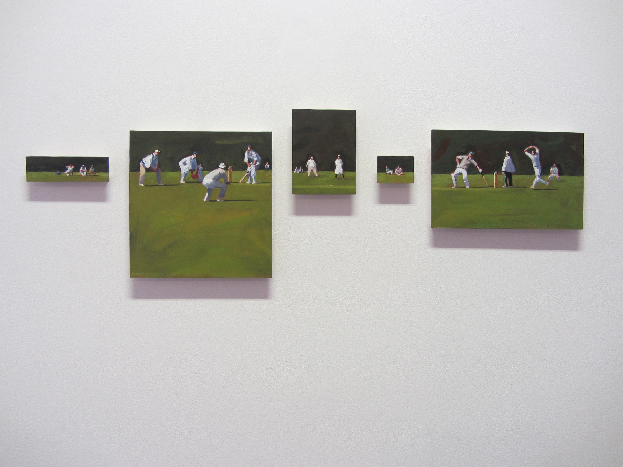 Image: Alastair Taylor,   Cricket   Pentaptych 2013, acrylic on board