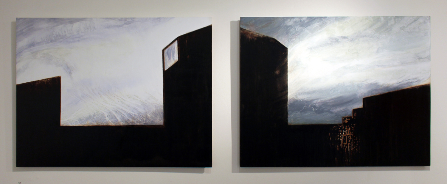 12. Karen Shirley,  Guarded Skies (Diptych) , Oil and Bitumen on board, $2,200
