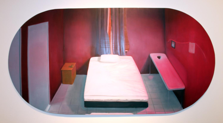13. Nina McKay,  Woman (Room) , Oil on gesso board, courtesy of Edith Cowan University