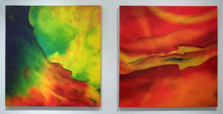 31. Kirsten Hocking,  Orange IV - Red Wave , Oil on cotton canvas, $790   32. Kirsten Hocking,  Orange V - Remembering Georgia O'Keeffe , Oil on cotton canvas, $790