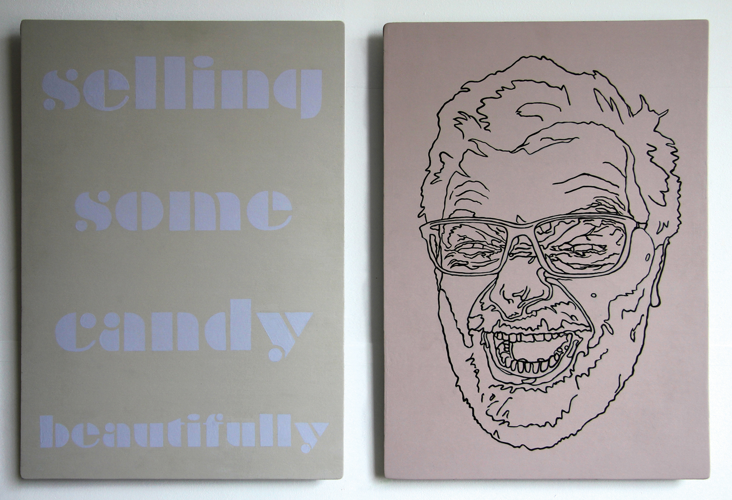 12 Andre Lipscombe,  Laughing Matter 2014, acrylic on plywood, diptych: 60 x 88 cm, $1,350