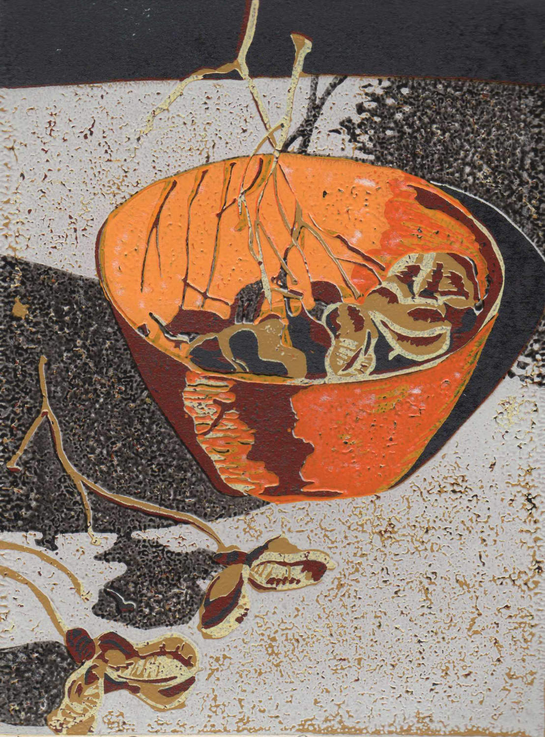 6. Helen Clarke,  Bowl with Pods 1 , reduction linocut, $250