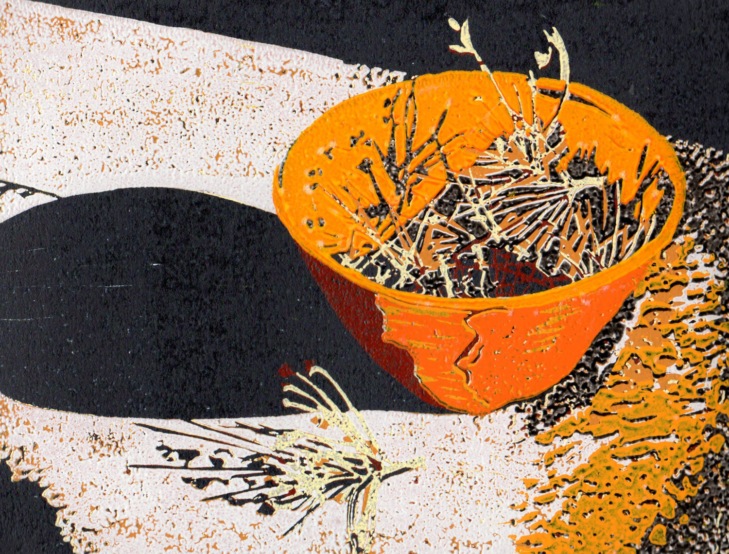 7. Helen Clarke,  Bowl with Pods 2 , reduction linocut, $250